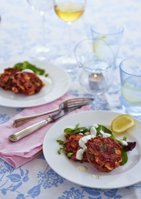 Beetroot, Rocket (Arugula) and Feta Fritters - Tinned Tomatoes
