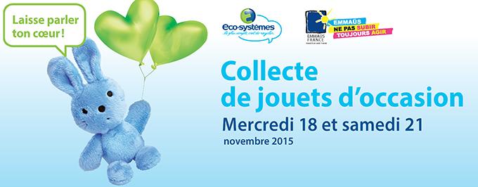 Grande collecte de jouets d'occasion les 18 et 21 novembre | Eco-systèmes