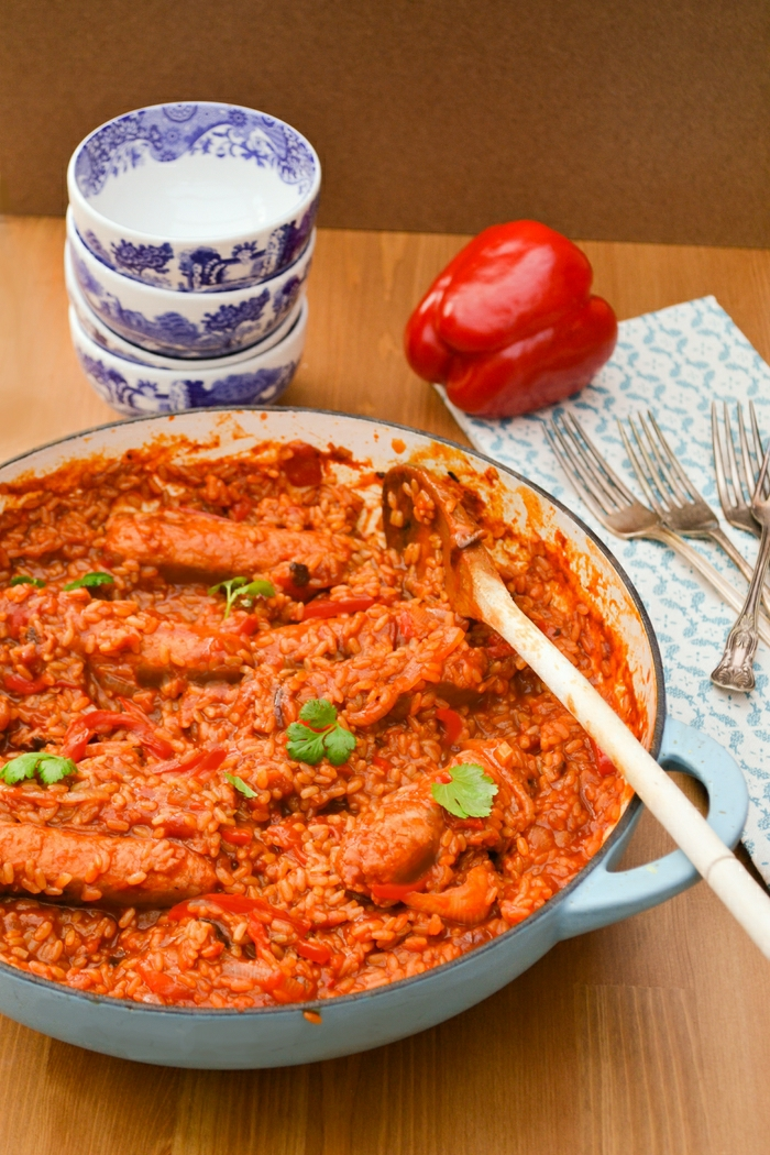 Vegan Sausage, Red Pepper and Brown Rice Casserole Recipe - Tinned Tomatoes