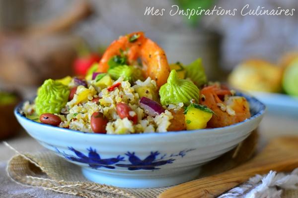Salade de quinoa crevettes, crème d'avocat | Le Blog cuisine de Samar