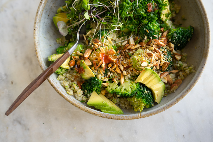 Vibrant Vegan Double Broccoli Buddha Bowl Recipe - 101 Cookbooks
