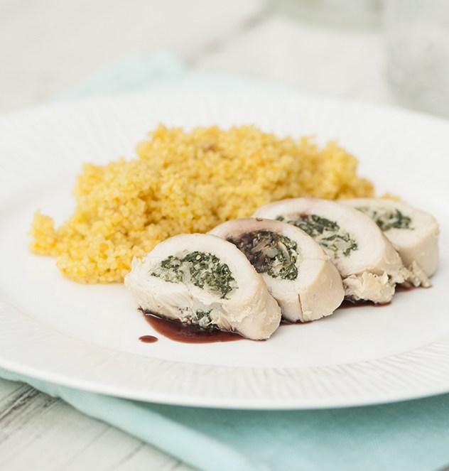 Pollo relleno de espinacas y champiñones - Espacio Culinario