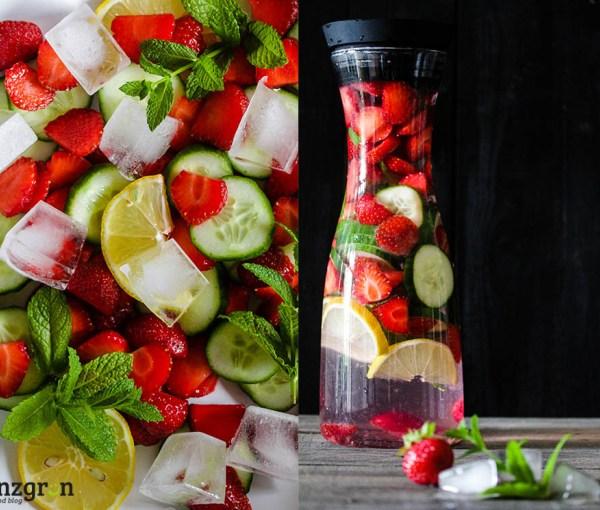 Natürlicher Durstlöscher: Erdbeer-Gurken-Wasser mit Minze