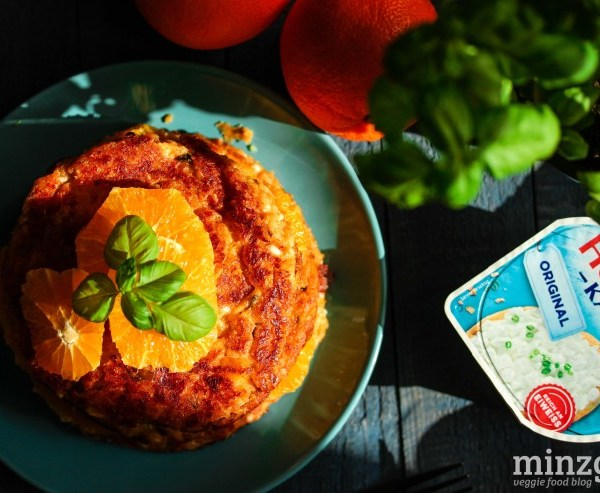 Hüttenkäse-Pancakes mit Orange und Basilikum | minzgrün